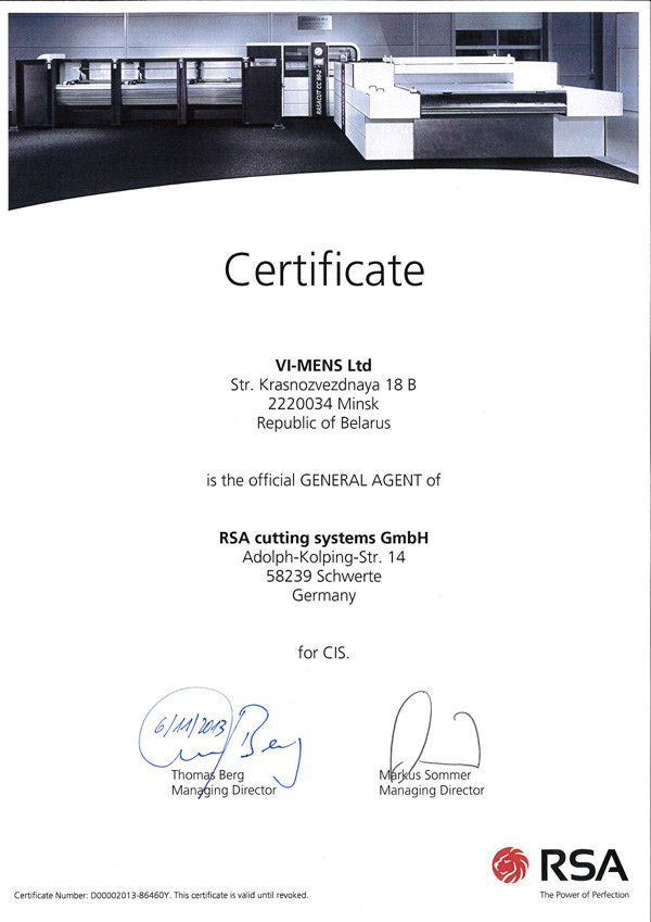 Certificate official General Agent